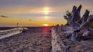Sunrise over Lake Superior's shore